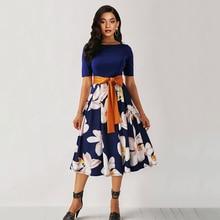 где купить Sisjuly Summer Floral Print Dress Elegant Plus Size 5XL Women A Line Robe Vintage Blue Sexy Belt Black Casual Midi Dresses по лучшей цене
