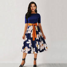 Sisjuly Summer Floral Print Dress Elegant Plus Size 5XL Women A Line Robe Vintage Blue Sexy Belt Black Casual Midi Dresses(China)