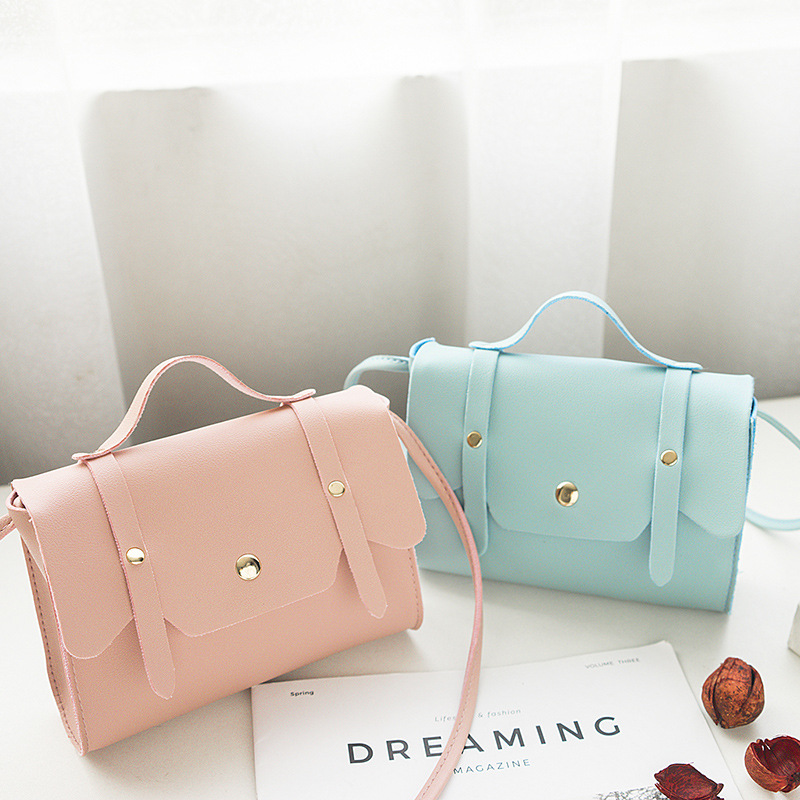 2020 Spring Summer New Pu Bag Women's Simple Portable Cross-Body Fashion Shoulder Bag Korean Version Fashion Square Sling Bag