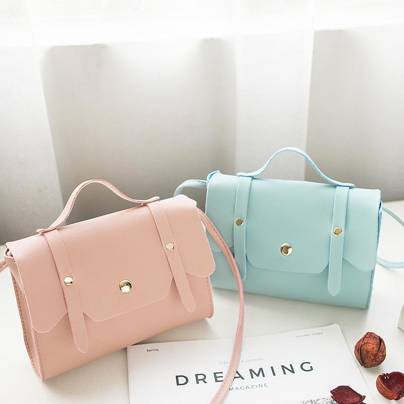 2020 Spring Summer New Pu Bag Women's Simple Portable Cross-Body Fashion Shoulder Bag Korean Version Fashion Square Sling Bag