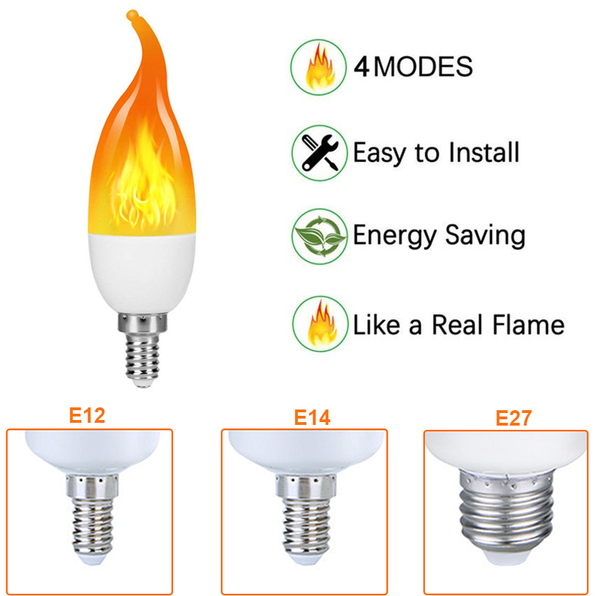 E14 E12 E27 Flame Bulb Lamp LED Flame Effect Simulated Fire Light Bulbs Flickering Emulation Decor Outdoor Party LED Lighting