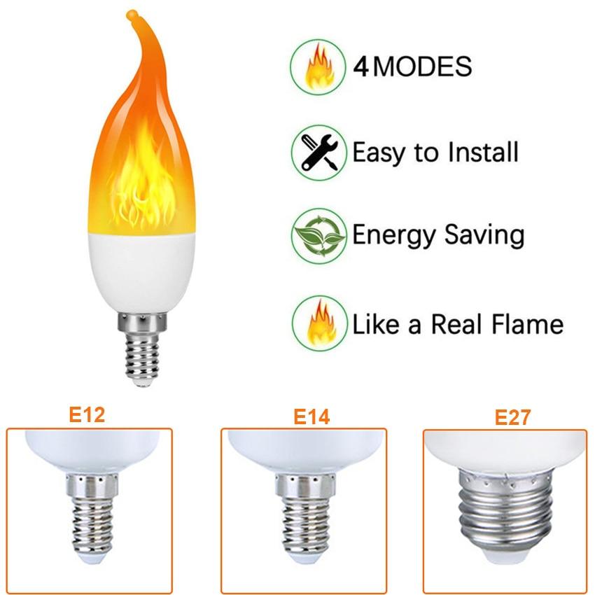 E14 E12 E27 Flame Bulb Lamp LED Flame Effect Simulated Fire Light Bulbs Flickering Emulation Decor Outdoor Party LED Lighting