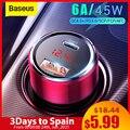 Baseus 45W Auto Ladegerät QC 4,0 3,0 Für Xiaomi Huawei Aufzurüsten SCP Samsung AFC Schnell Ladung Schnell PD USB C Tragbare Telefon Gebühr
