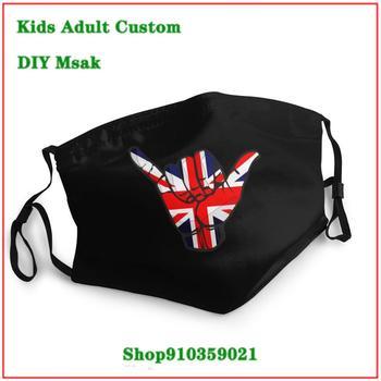 Hot sale washable reusable face mask kids Shaka Sign Great Britain Flag face mask washable mouth mask cotton mascarillaa tela