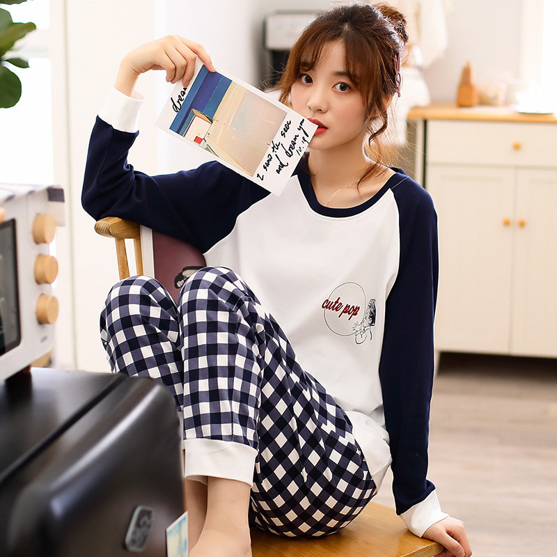 Method Dai Qi Pajamas Women's Spring And Autumn Long Sleeve Korean-style Fresh Cotton Students INS Girly Series Set Tracksuit Au