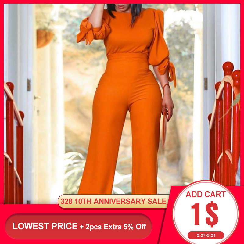 Two Piece Suit Sets Top And Pants High Waist Orange 2020 Summer Elegant Office Ladies Outfits Tracksuits Wide Legs Pants Set