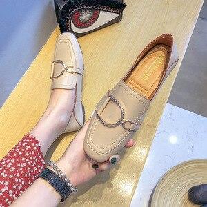 Image 4 - מקסי גודל 41 42 נעלי אישה פרדות מוקסינים נקבה להחליק על מתכת אבזם אפונת ופרס עור מפוצל אמא אחות קריירה משרד דירות