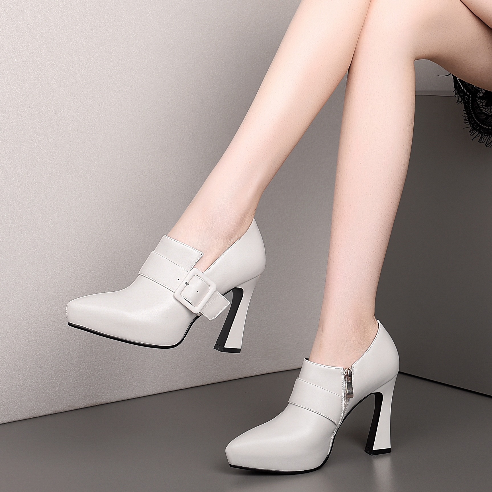 Pointed Toe Ladies Single Women Shoes Comfortable Thick High Heels Buckle Strap Luxury Office Fashion Temperament Female Shoes
