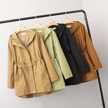 Female Trench Coat Feminine Fashion Spring Autumn Mid-Long Section Hooded Drawst