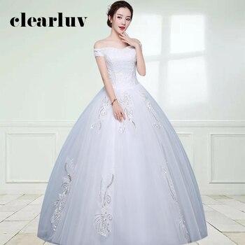 Sequined Wedding Dress DR713 Lace Up Plus Size Wedding Dresses 2020 Off The Shoulder Bridal Gowns Boat Neck Vestidos De Novia