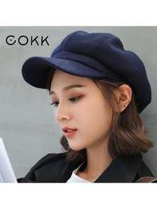 Hats Painter-Cap Beret COKK Octagonal Plain Autumn Casual Women Ladies Solid for Wool