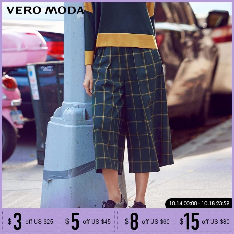 Vero Moda Brand 2019 NEW three quarter trouser regular OL-style side pocket zipper plaid women   wide     leg     pants    31616J007