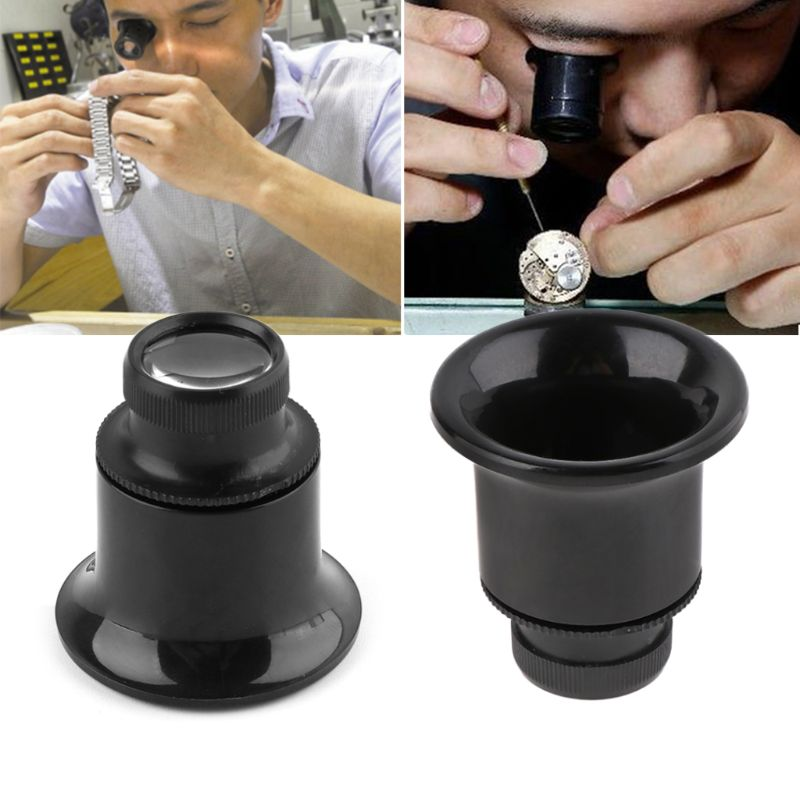 20X Jeweler Watch Magnifier Tool Monocular Magnifying Glass Loupe Lens Black