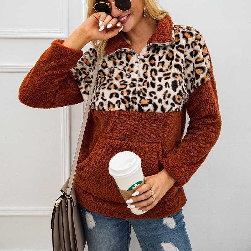 Turtleneck Pullover Leopard Patchwork sheep wool Sweatshirt Women Front Pocket Warm Fleece Casual Winter Oversized Lady Hoodies