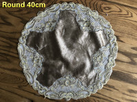 Round European Retro Velvet Water Soluble Embroidery Placemat Coaster Coffee Table Mat Dust Cloth Christmas Wedding Decoration