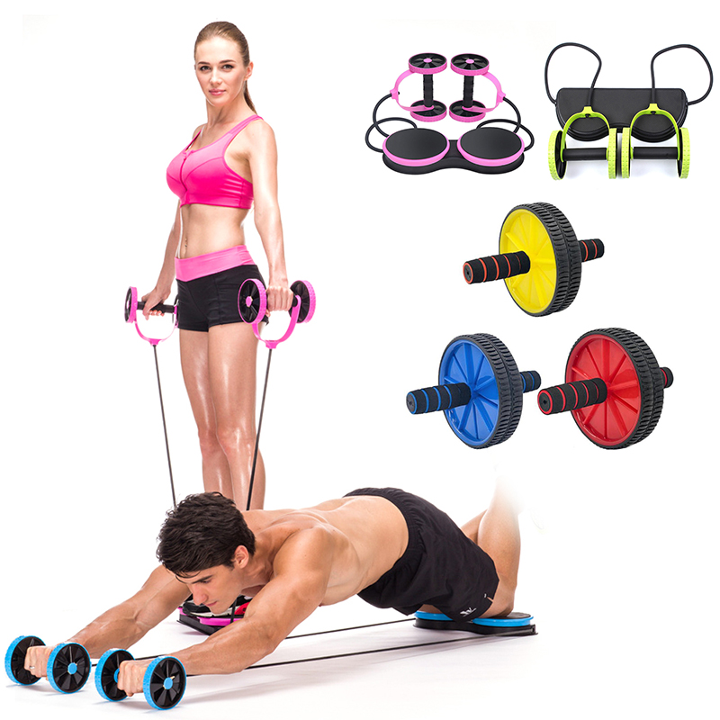 2019 New Double-wheeled Updated Abdominal Press Wheel Rollers Exercise Equipment For Home Gym Body Building Fitness