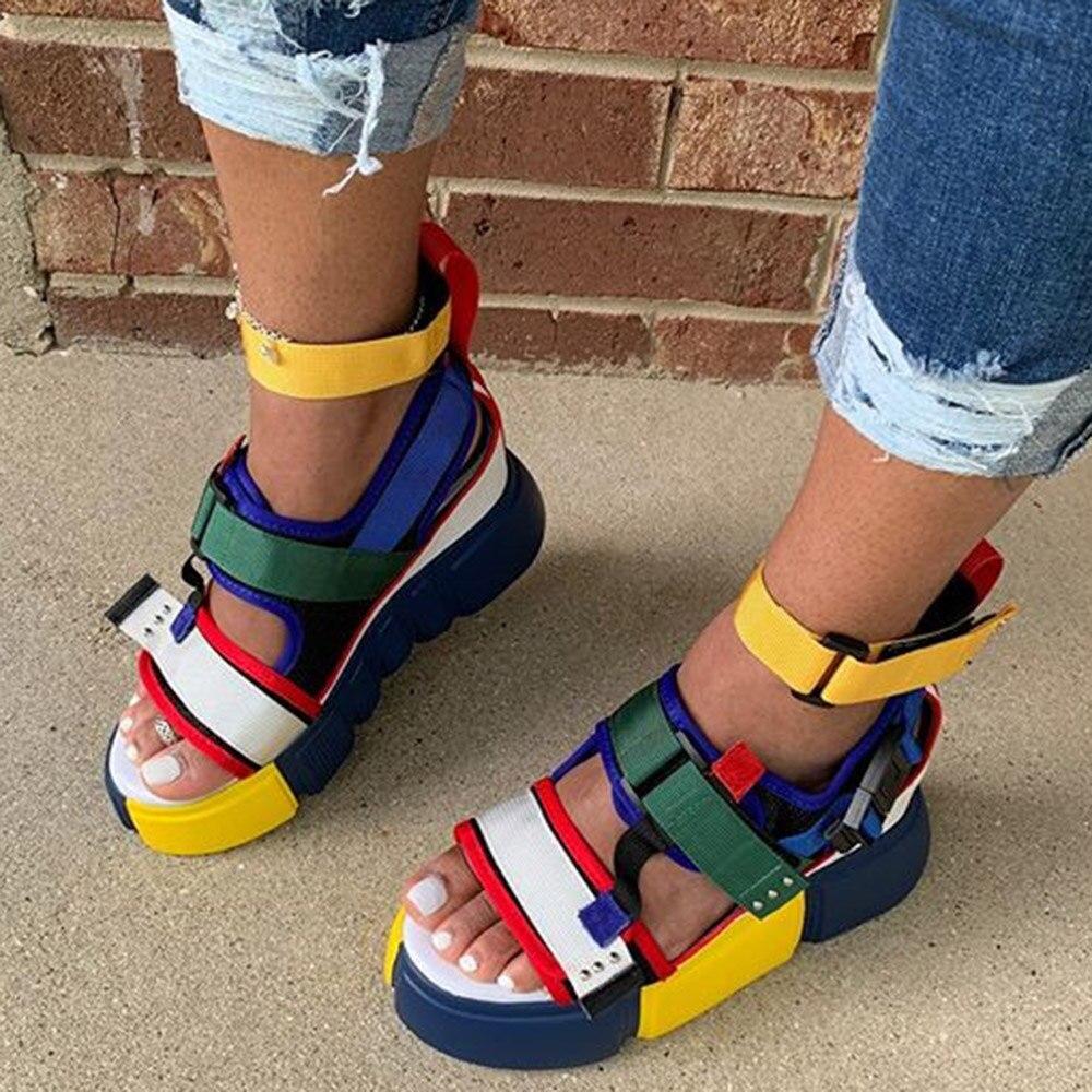 Velcro Platform Open Toe Platform Colorful Color Block Sandals Women 2020 Summer Fashion Casual Outdoor Beach Shoes 4 Colors