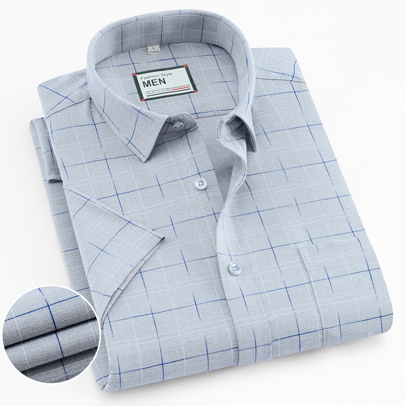 Men's Checked Standard-fit Short-Sleeve Dress Shirt With Pocket Summer Thin Soft Striped/Plaid Casual Shirts