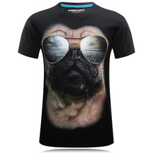 Summer T Shirt Men Tops Sunglasses Dog 3D Print Short Sleeve