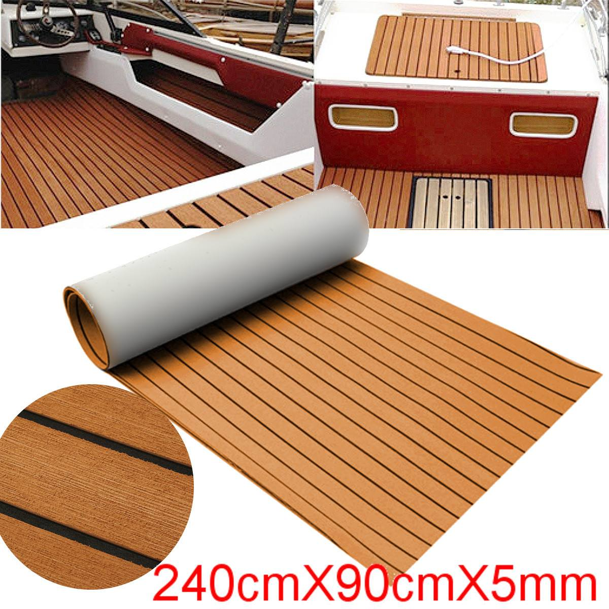 Self-Adhesive 900x2400x5mm Foam Teak Decking EVA Foam Marine Flooring Faux Boat Decking Sheet Accessories Marine Brown Black