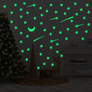 Image 5 - 103 pcs Luminous stars meteor moon Wall Sticker for kids room living room bedroom decoration decals Glow in the dark 3D Stickers