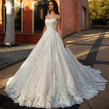Adoly メイ新着セクシーなストラップレス A ラインのウェディングドレス 2020 の高級アップリケ裁判所の列車ヴィンテージ花嫁プラスサイズ