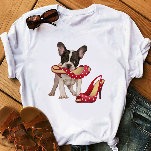 Loose Cotton Dog Printed T-Shirt