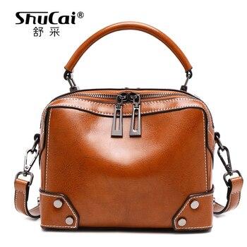 SHUCAI Leather Shoulder Bag Women's Luxury Handbags Fashion Crossbody bags for Retro Women Messenger Bag Purse DARK BROWN BLACK