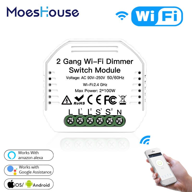 2 Gang DIY WiFi Smart 2 Way Light LED Dimmer Module Switch Smart Life/Tuya APP Remote Control Work With Alexa Google Home