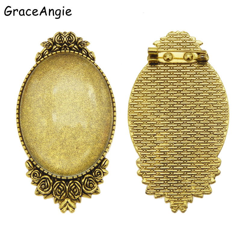 38788 Vintage Style Black Tone Alloy Oval Lace Cameo Setting Tray Inner 40*30mm