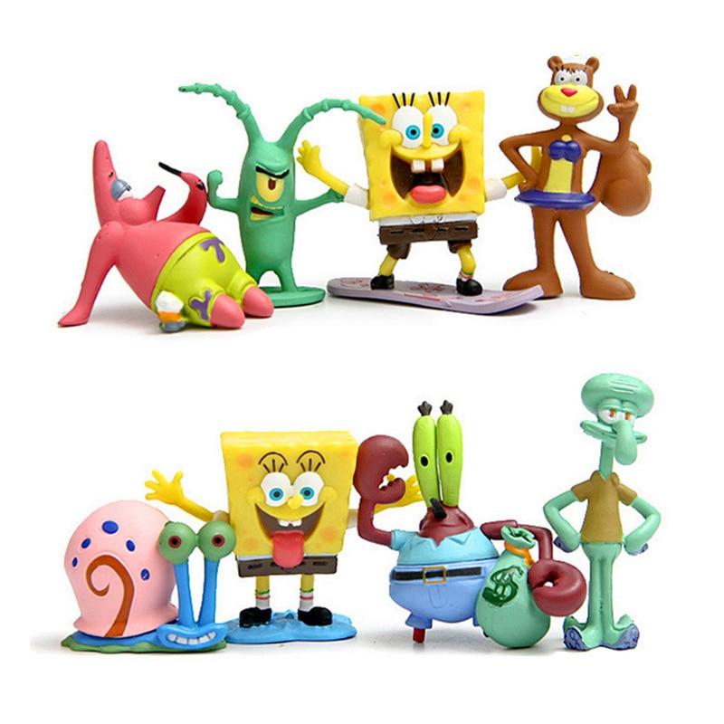 8pcs/set 5cm Anime Toys Models  Bob  esponja Patrick Star Action Figure Cute Car Home Decoration Collection Toys Children Gift