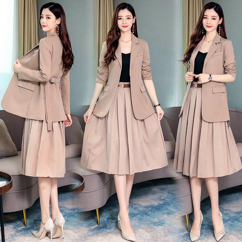 Long Sleeve Suit Two Pieces Set Skirt Women's 2019 Autumn Pleated Set Skirt Fashion