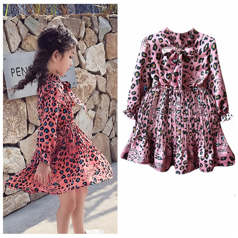 2-8T Tutu <font><b>Princess</b></font> <font><b>Toddler</b></font> Kid Clothes Baby Girl Leopard Print Dress Long Sleeve Kids Sundress Autumn image