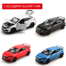 alloy car 1:32 high simulation Honda Civic TYPE R model sound and light pull back toys for children gifts