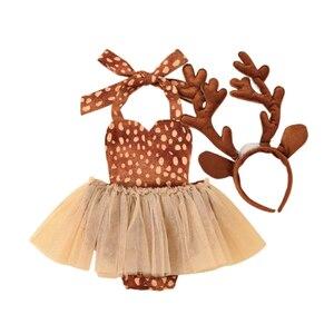 Cathery Baby Girl strój świąteczny Halter Tutu Romper sukienka renifer body bez rękawów kombinezon opaska rogi renifera strój świąteczny