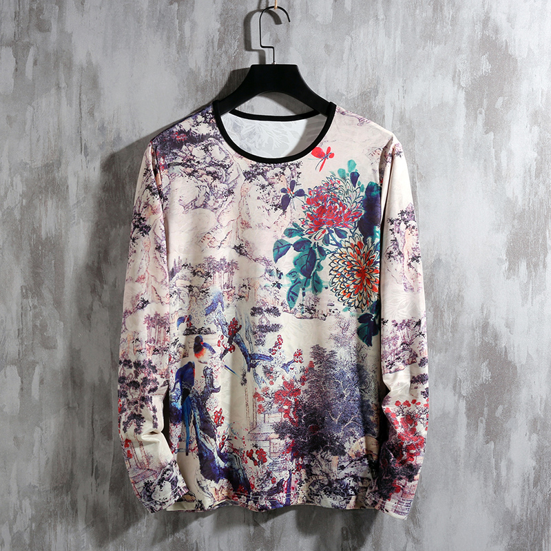T-Shirt Long-Sleeve Plus-Size Spring Fashion Brand O-Neck for Men's Top-Tees M-5XL 6XL