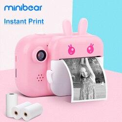 Minibear Детская Камера Мгновенная Печать Камера Для Детей 1080 P HD Камера С Тепловой Фотобумаги Игрушки Камера Для Подарков На День Рождения