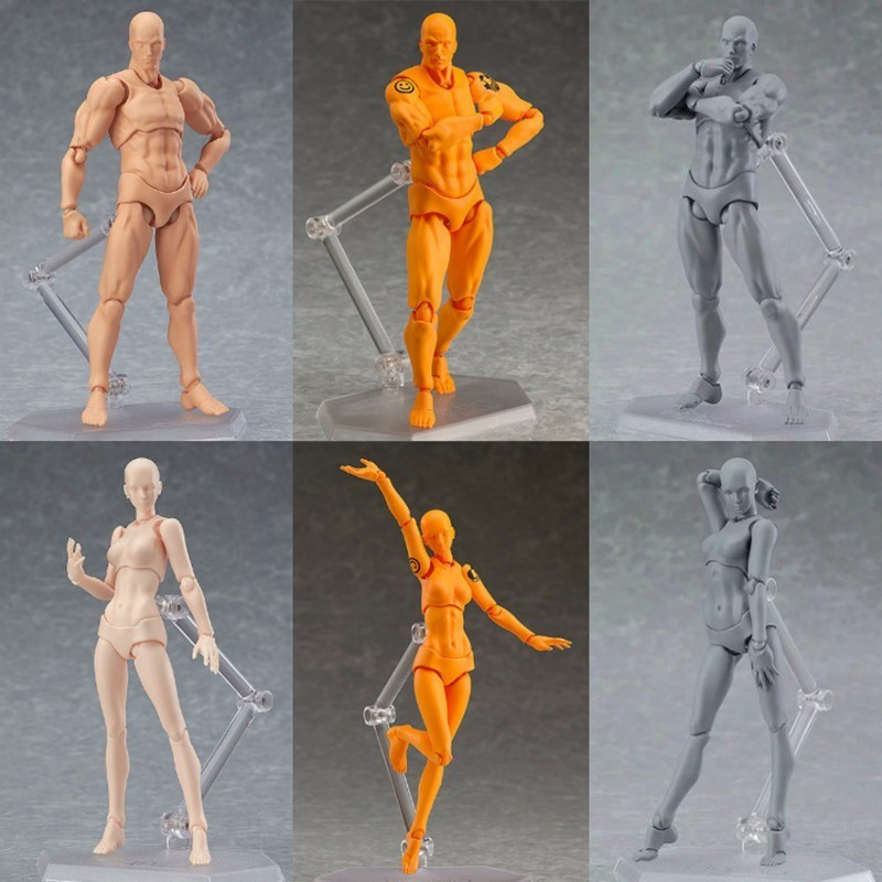 15cm Anime Figma <font><b>Body</b></font> Archetype He She PVC <font><b>Action</b></font> <font><b>Figure</b></font> Human <font><b>Body</b></font> Joints Male Female Nude Movable Dolls Models Collectible image