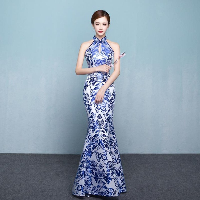 <font><b>Sexy</b></font> Slim <font><b>Party</b></font> Cheongsam Vintage Chinese style <font><b>Womens</b></font> Wedding Qipao <font><b>Evening</b></font> <font><b>Dress</b></font> Elegant Sleeveless Long Robe Retro Vestidos image