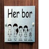 5 명을위한 맞춤형 노르웨이어 도어 플라크 패밀리 하우스 이름 표지판