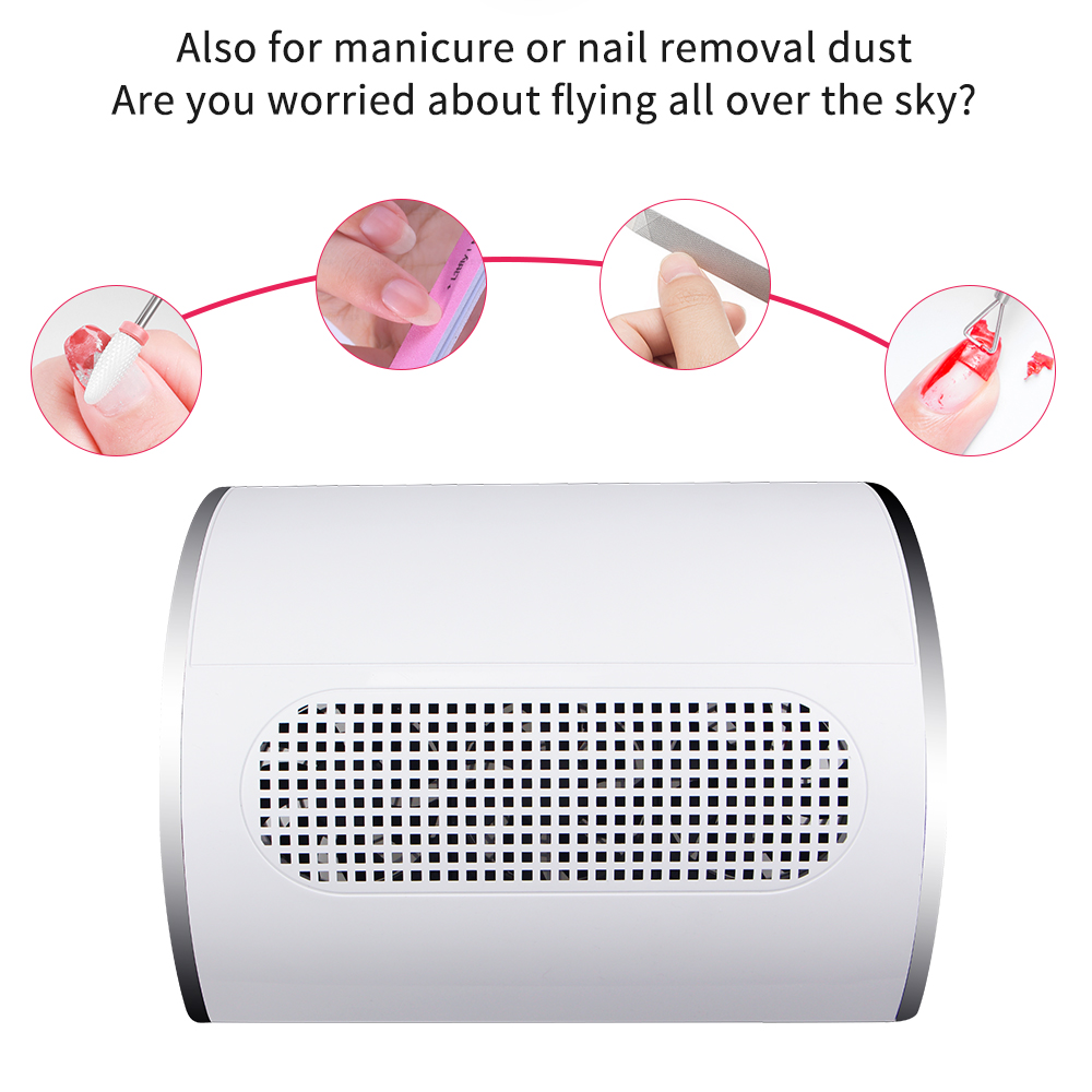 Image 2 - Nail Suction Dust Collector Low Noisy 3 Fans Strong Suction Nail Vacuum Cleaner Manicure Tools with 2 Bags Nail Art EquipmentNail Art Equipment   -