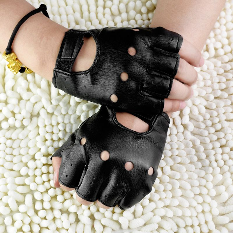 Men Faux Leather Slip-Resistant Half Finger Fingerless Gloves Hand Wrist Mittens Hollow Out Black Driving Motorcycle Unlined