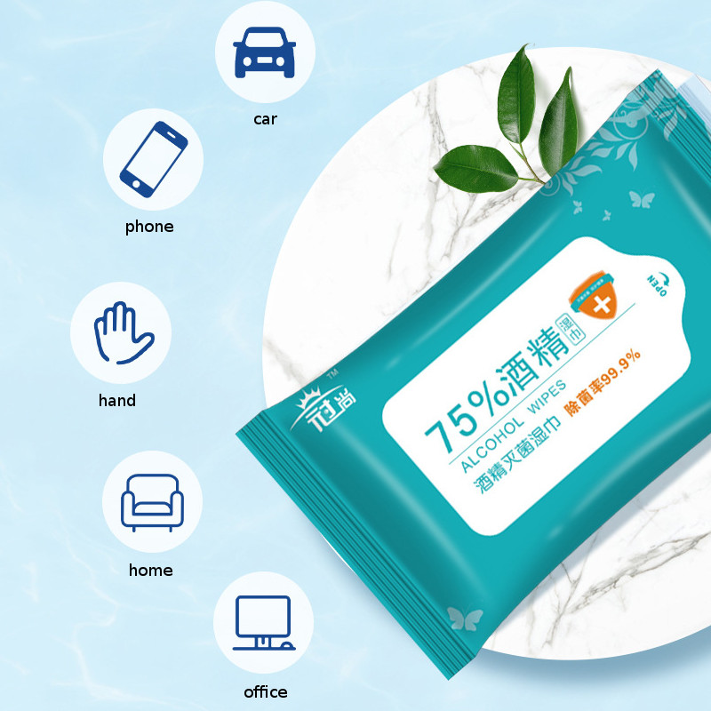 10pcs/Bag Personal Disinfection Portable 75% Alcohol Swabs Pads Wipes Antiseptic Cleanser Cleaning Sterilization Health Wipes