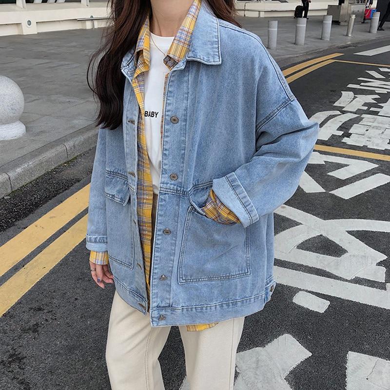 Jean cappotti casual da donna in 2 colori 2021 autunno giacca da donna allentata in Denim manica lunga sciolto femminile ragazze Outwear Oversize (78228) 2