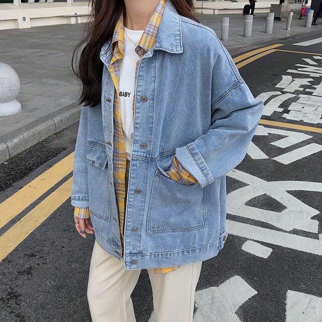 2 colors Women's casual Jean Coats 2019 autumn Women loose Denim Jacket Long Sleeve Loose Female Girls Outwear (78228) 2