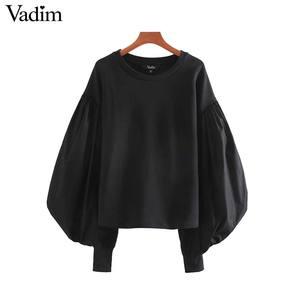 Image 1 - Vadim נשים שיק טלאי חולצות רפוי פאף שרוול O צוואר סוודרי להאריך ימים יותר אופנתי חולצות HA586