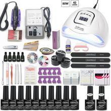 Набор для ногтей с УФ светодиодной лампой, маникюрный набор для ногтей, 10 шт., набор для лака для ногтей с маникюрной сверлильной машиной, набор инструментов для дизайна ногтей