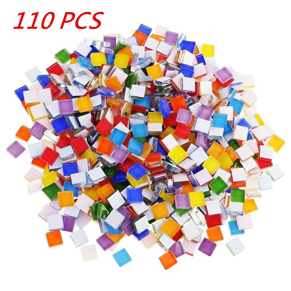 About 110 Pcs Multi-Color Material Mosaic Tiles 1cm X 1cm For DIY Project Craft Supply Accessories Mosaic Tiles Decoration HOT