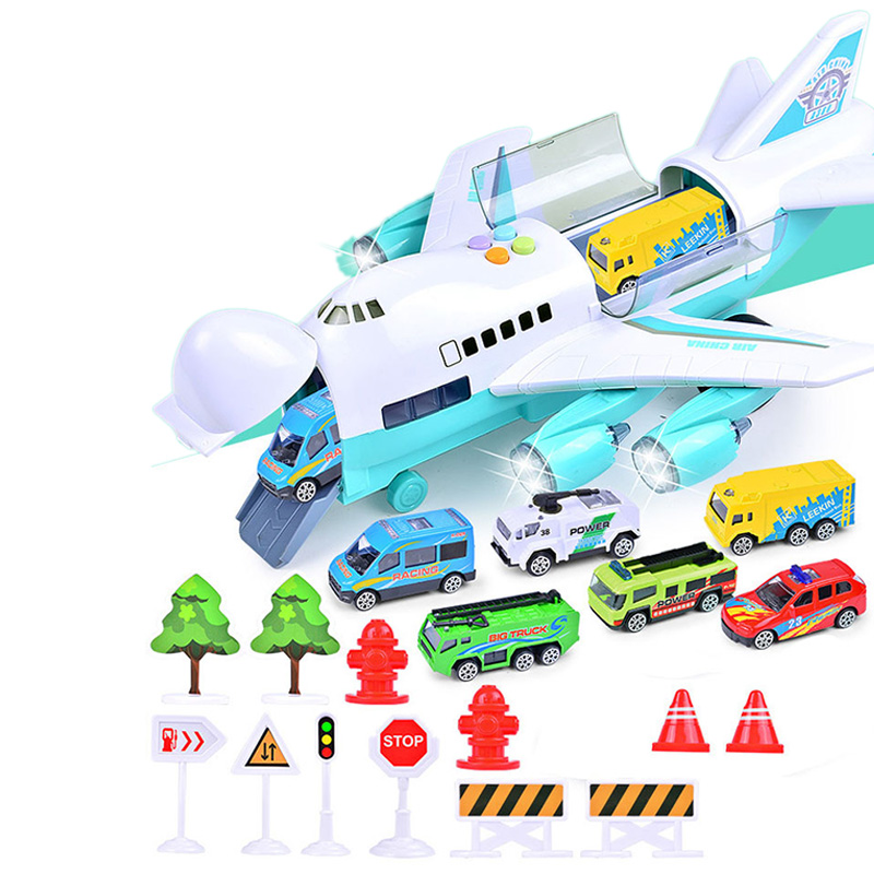 Music Story Simulation Track Inertia Children's Toy Aircraft Storage Passenger Plane Police Fire Rescue Baby Boy Toy Car,Green