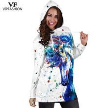 VIP FASHION Autumn Winter Hood Dress Cartoon Unicorn Print Long Sleeve Femme Tracksuit Womens Fashion Streetwear Hoodie